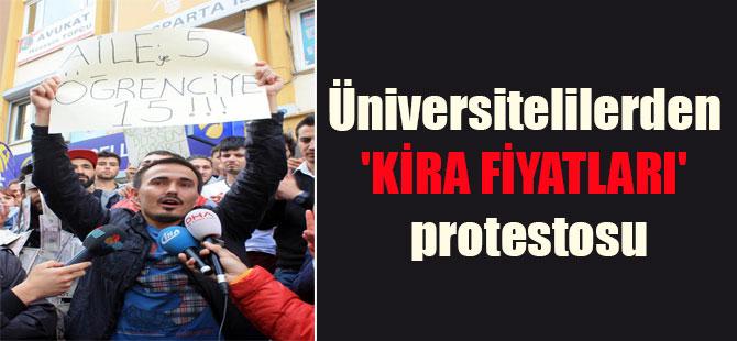 Üniversitelilerden 'kira fiyatları' protestosu