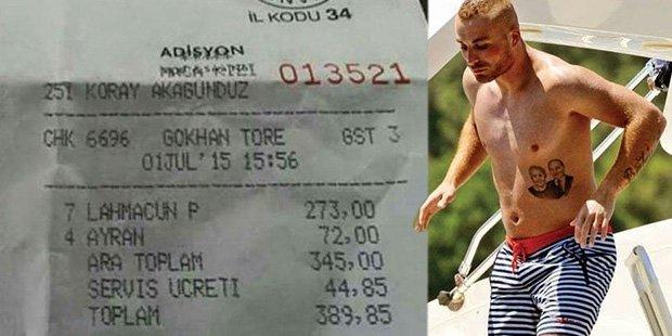 Gökhan Töre'ye 7 lahmacun 4 ayran faturası: 389 lira!