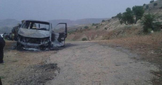 PKK'lı teröristler muhtarın içinde bulunduğu aracı yaktı!