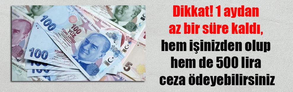 Dikkat! 1 aydan az bir süre kaldı, hem işinizden olup hem de 500 lira ceza ödeyebilirsiniz