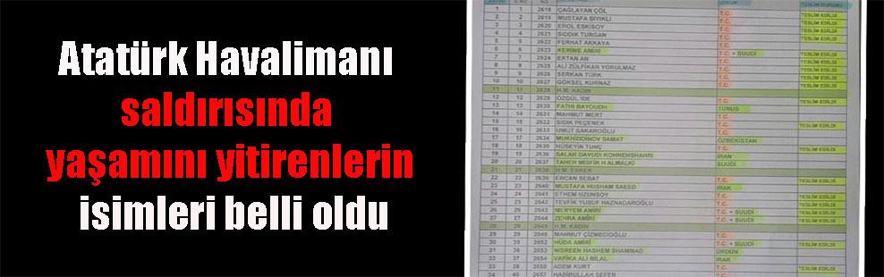 Atatürk Havalimanı saldırısında yaşamını yitirenlerin isimleri belli oldu