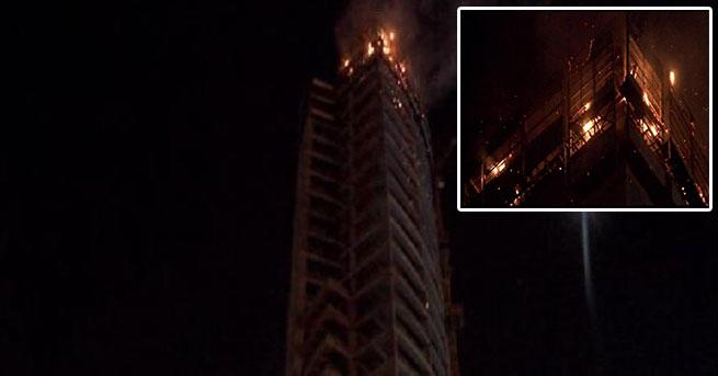 AVM inşaatında yangın paniği