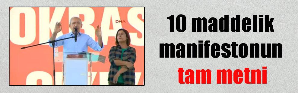 10 maddelik manifestonun tam metni