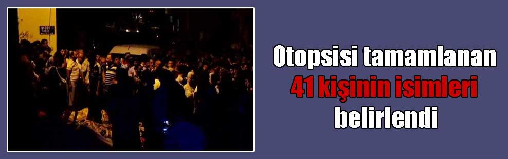 Otopsisi tamamlanan 41 kişinin isimleri belirlendi