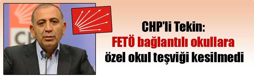 CHP'li Tekin: FETÖ bağlantılı okullara özel okul teşviği kesilmedi