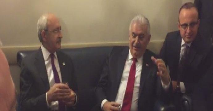Kılıçdaroğlu ile Başbakan Yıldırım muhalefet kulisinde çay sohbeti yaptı