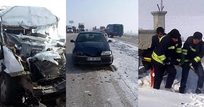Erzurum'da zincirleme kaza: 24 yaralı