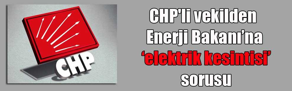 CHP'li vekilden Enerji Bakanı'na 'elektrik kesintisi' sorusu