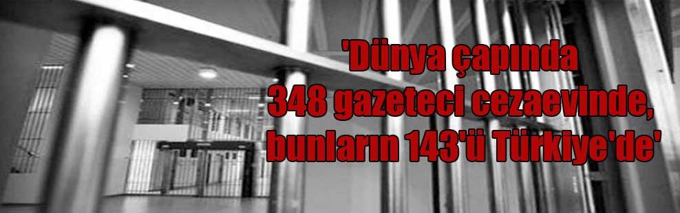 'Dünya çapında 348 gazeteci cezaevinde, bunların 143'ü Türkiye'de'