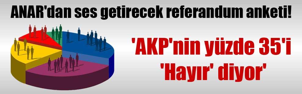 ANAR'dan ses getirecek referandum anketi!  'AKP'nin yüzde 35'i 'Hayır' diyor'