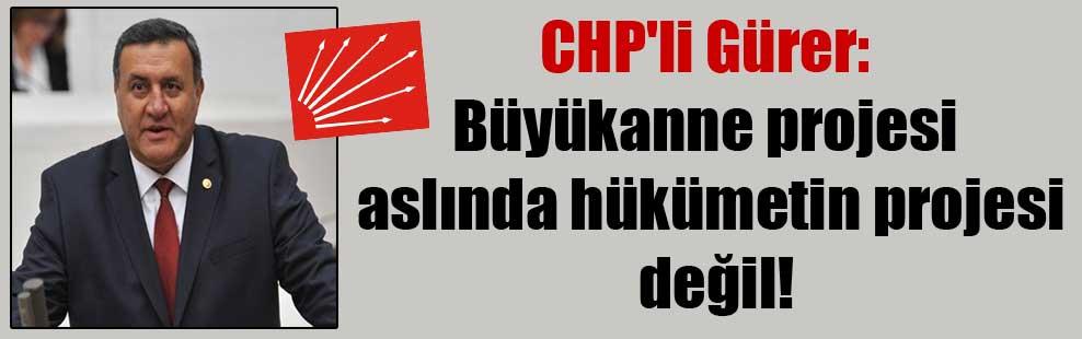 CHP'li Gürer: Büyükanne projesi aslında hükümetin projesi değil!