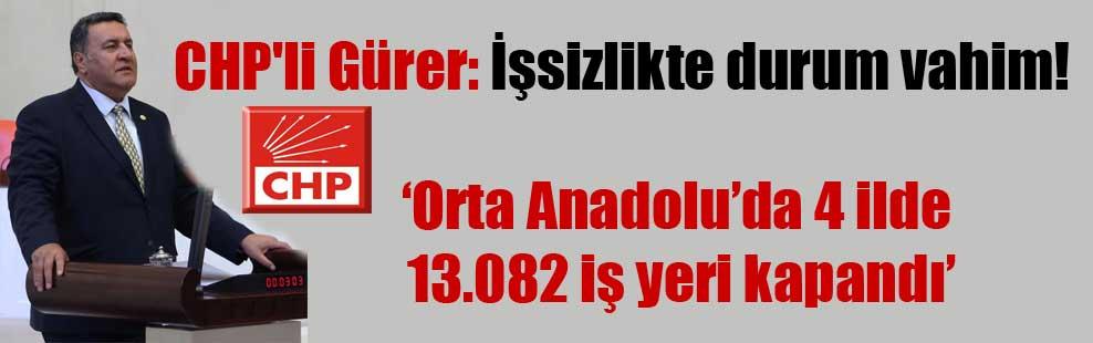 CHP'li Gürer: İşsizlikte durum vahim!