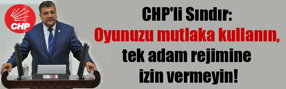 CHP'li Sındır: Oyunuzu mutlaka kullanın, tek adam rejimine izin vermeyin!