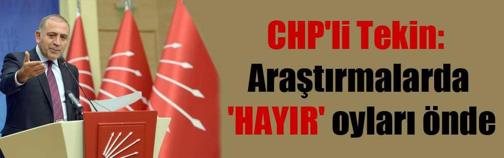 CHP'li Tekin: Araştırmalarda 'HAYIR' oyları önde