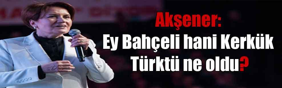 Akşener: Ey Bahçeli hani Kerkük Türktü ne oldu?