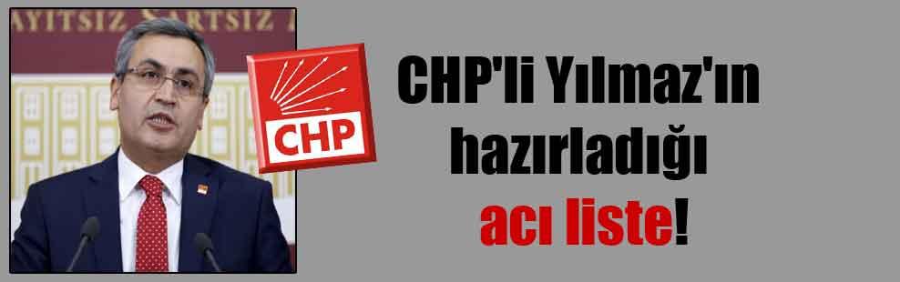 CHP'li Yılmaz'ın hazırladığı acı liste!
