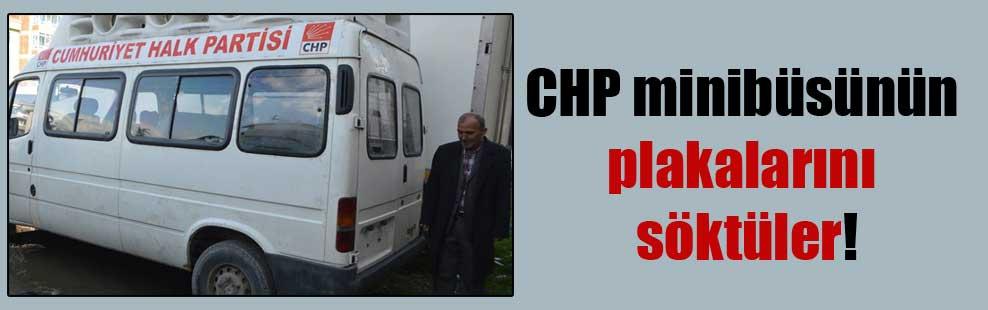 CHP minibüsünün plakalarını söktüler!