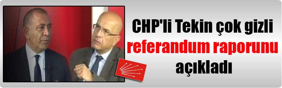 CHP'li Tekin çok gizli referandum raporunu açıkladı