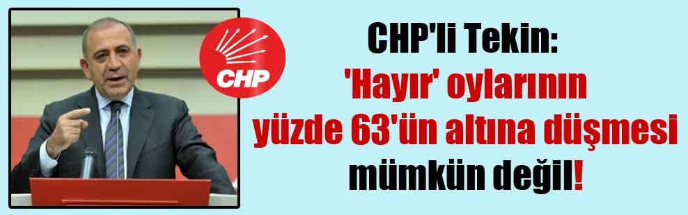 CHP'li Tekin: 'Hayır' oylarının yüzde 63'ün altına düşmesi mümkün değil!