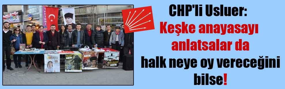 CHP'li Usluer: Keşke anayasayı anlatsalar da halk neye oy vereceğini bilse!