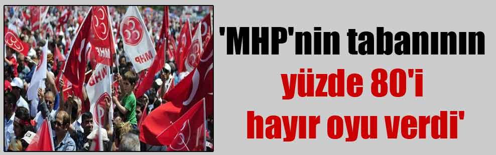 'MHP'nin tabanının yüzde 80'i hayır oyu verdi'