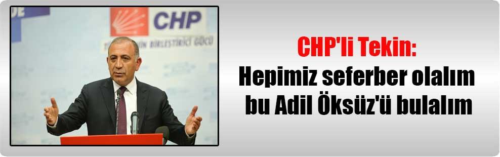 CHP'li Tekin: Hepimiz seferber olalım bu Adil Öksüz'ü bulalım