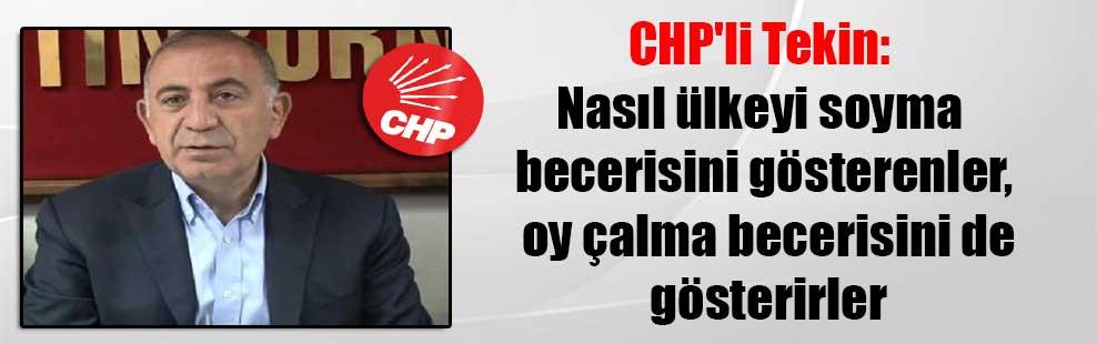 CHP'li Tekin: Nasıl ülkeyi soyma becerisini gösterenler, oy çalma becerisini de gösterirler
