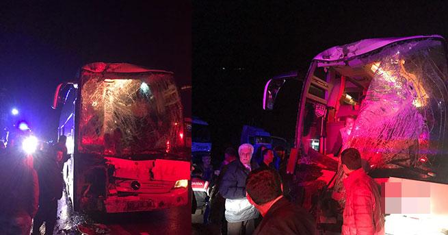 Aynı firmanın otobüsleri çarpıştı: 23 yaralı