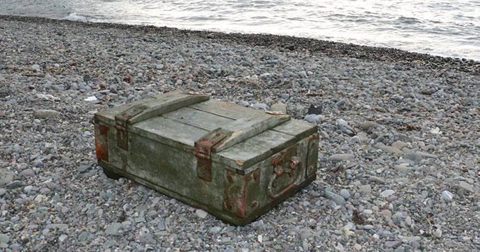 Zonguldak'ta kıyıya mühimmat sandığı vurdu