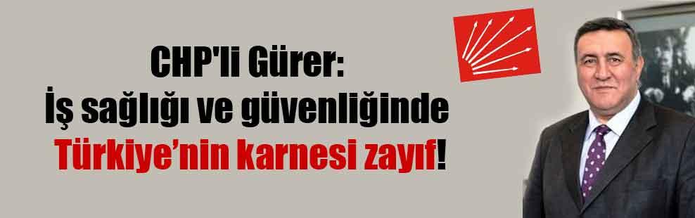 CHP'li Gürer: İş sağlığı ve güvenliğinde Türkiye'nin karnesi zayıf!