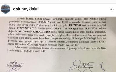 Taner Kışlalı'nın kızının pasaportuna el konuldu