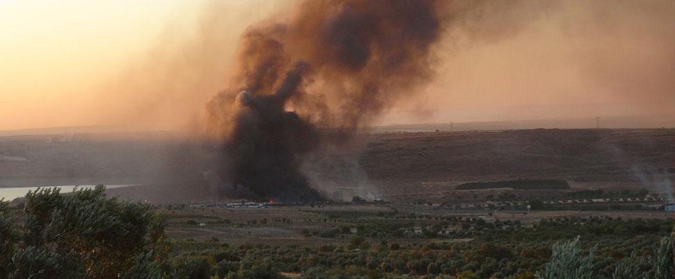 Askeri bölgede patlama ve yangın!