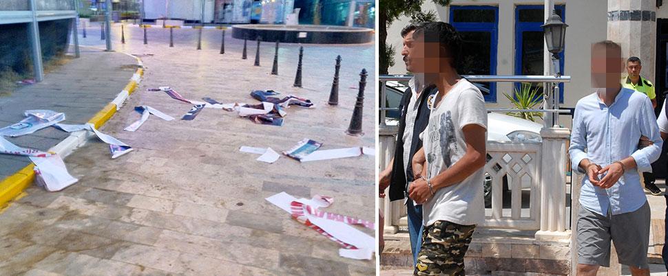 '15 Temmuz' afişi yırtan 3 kişiye tutuklama
