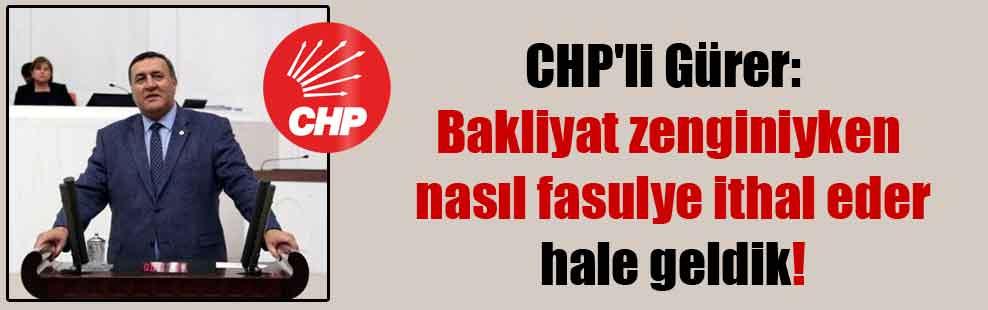 CHP'li Gürer: Bakliyat zenginiyken nasıl fasulye ithal eder hale geldik!