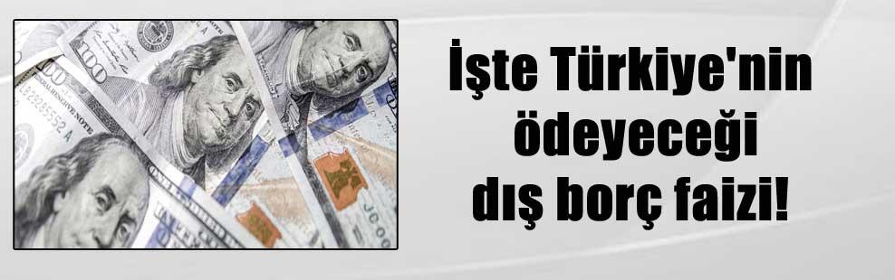 İşte Türkiye'nin ödeyeceği dış borç faizi!