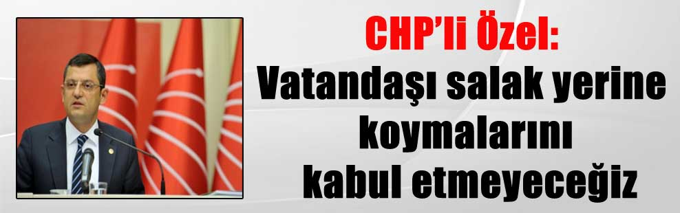 CHP'li Özel: Vatandaşı salak yerine koymalarını kabul etmeyeceğiz