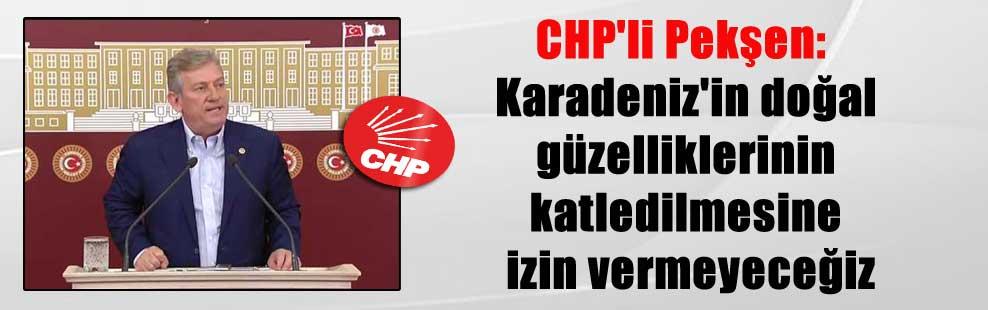 CHP'li Pekşen: Karadeniz'in doğal güzelliklerinin katledilmesine izin vermeyeceğiz