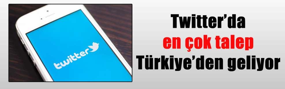 Twitter'da en çok talep Türkiye'den geliyor
