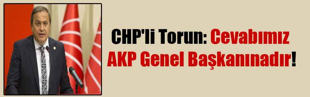 CHP'li Torun: Cevabımız AKP Genel Başkanınadır!