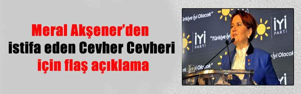 Meral Akşener'den istifa eden Cevher Cevheri için flaş açıklama