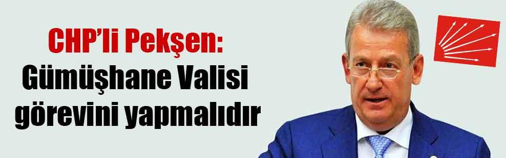 CHP'li Pekşen: Gümüşhane Valisi görevini yapmalıdır