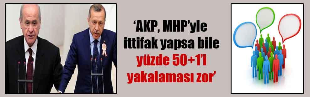 'AKP, MHP'yle ittifak yapsa bile yüzde 50+1'i yakalaması zor'