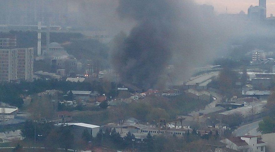 Alibeyköy'de beyaz eşya deposunda yangın