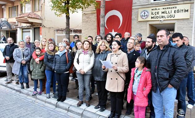 Marmaris'te 'tarikat yurtları kapatılsın' eylemi