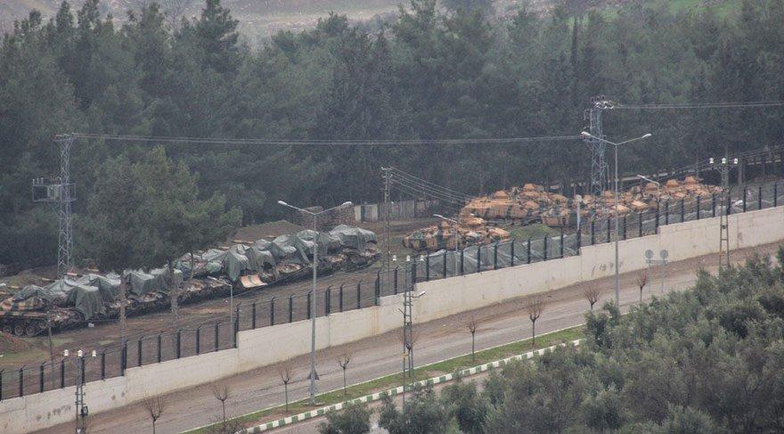 Tanklar ve zırhlı askeri araçlar Afrin için hazır kıta
