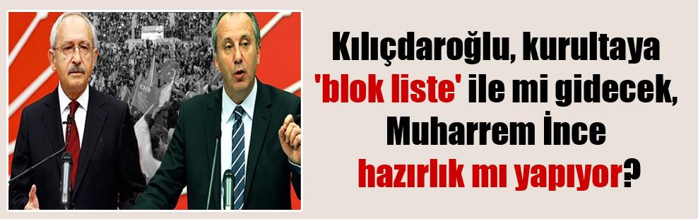 Kılıçdaroğlu, kurultaya 'blok liste' ile mi gidecek, Muharrem İnce hazırlık mı yapıyor?