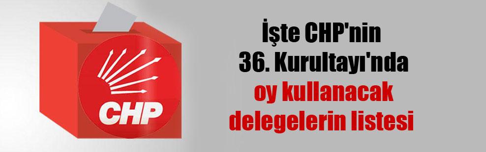 İşte CHP'nin 36. Kurultayı'nda oy kullanacak delegelerin listesi