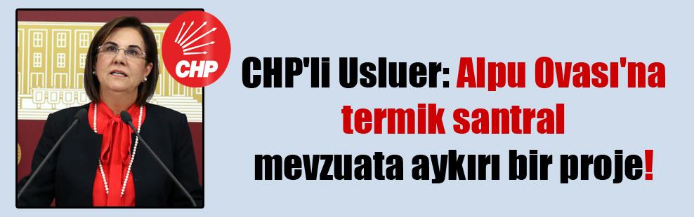 CHP'li Usluer: Alpu Ovası'na termik santral mevzuata aykırı bir proje!