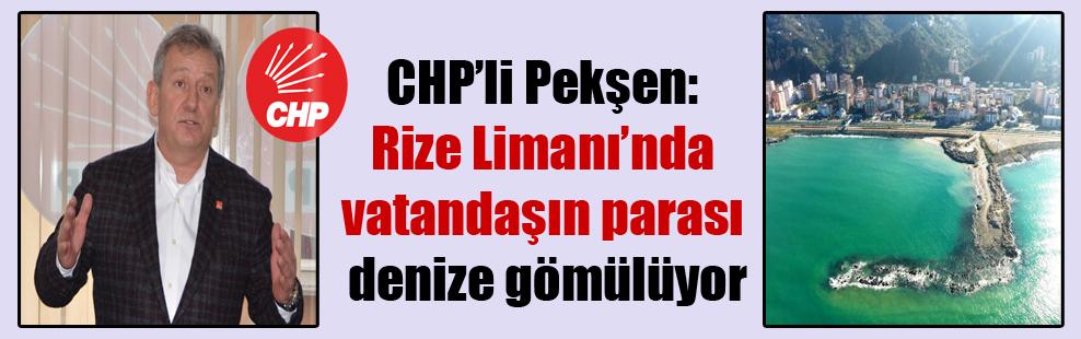 CHP'li Pekşen: Rize Limanı'nda vatandaşın parası denize gömülüyor