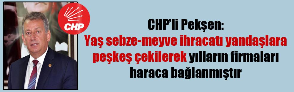 CHP'li Pekşen:Yaş sebze-meyve ihracatı yandaşlara peşkeş çekilerek yılların firmaları haraca bağlanmıştır